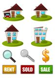 Real Estate Icon set. Illustration set of  Real Estate icons. Different building types. Rent, sold and sale signs. Magnifying glass, key and dollar sign Royalty Free Stock Photo