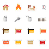 Real Estate Icon Set. Real estate related symbols and objects icon set Stock Photo