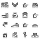 Real Estate Icon Set. Real estate commercial buildings rent business black icon set isolated vector illustration Stock Photo