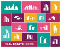 Real Estate icon set in flat style stock illustration