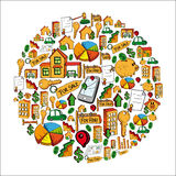 Real estate icon set globe Stock Images