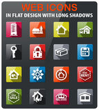 Real estate icon set. Real estate icons set in flat design with long shadow Royalty Free Stock Photos