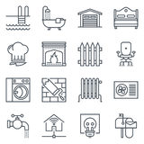 Real estate icon set. Suitable for info graphics, websites and print media. Black and white flat line icons Stock Photos