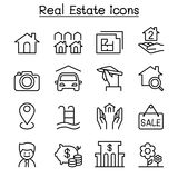 Real estate icon set in thin line style Stock Image