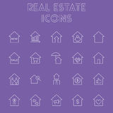 Real estate icon set. Vector light purple icon isolated on dark purple background Stock Photos