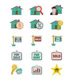 Real estate icon sets - flat style icon sets Royalty Free Stock Image