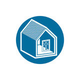 Real estate icon, vector abstract house. Property developer symb Royalty Free Stock Images