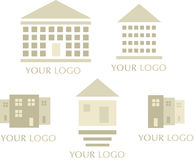 Real Estate Icons. Set of five icons for real estate and construction designs and logos Royalty Free Stock Photos
