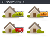 Real Estate Icons. Of a house for sale, rent & Sold. Image isolated on white background. Gh Icons series Royalty Free Stock Image