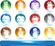 Real Estate Icons. Set of 12 real estate icons - round Royalty Free Stock Photos