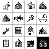 Real Estate Icons Black Royalty Free Stock Images