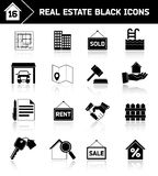 Real estate icons black Royalty Free Stock Image