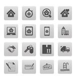Real estate icons on black squares Stock Images