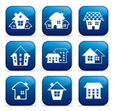 Real estate icons on buttons Stock Images
