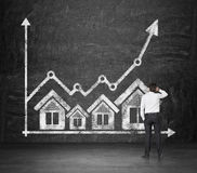 Real estate icons and chart. Businessman looking at drawing real estate icons and chart Royalty Free Stock Photos