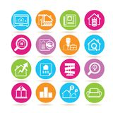 Real estate icons. Collection of 16 real estate icons in colorful buttons vector illustration