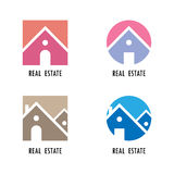 Real estate icons and design elements.Colorful real estate, city Stock Photography