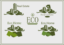 Real estate , icons , eco home . Stock Photography