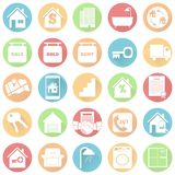 Real estate icons in flat design with long shadows stock photo
