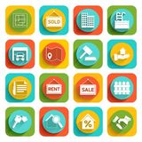 Real Estate Icons. Real estate flat icons set of house valuation commission and searching isolated vector illustration Royalty Free Stock Image