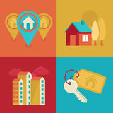 Real estate icons in flat style. Vector icons and concepts in flat trendy style - houses illustrations and banners for real estate agencies Royalty Free Stock Photos