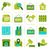 Real Estate Icons Green Stock Photography