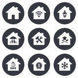 Real estate icons. Home insurance sign Royalty Free Stock Image