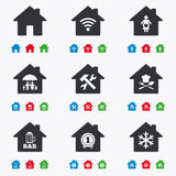 Real estate icons. Home insurance sign Royalty Free Stock Photography