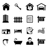 Real Estate Icons. Real estate and house icon set in black Royalty Free Stock Image