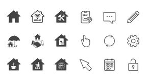 Real estate icons. House insurance sign. Royalty Free Stock Photos