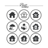 Real estate icons. House insurance sign. Real estate icons. House insurance, broker and casino with bar signs. Handshake deal, coffee and smart house symbols Stock Photos