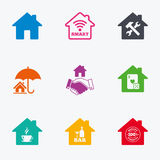 Real estate icons. House insurance sign. Royalty Free Stock Images
