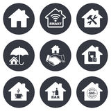 Real estate icons. House insurance sign Stock Photos