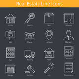 Real Estate Icons. 16 Real estate line icons royalty free illustration