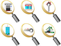 Real Estate icons magnifying glass icons set  Royalty Free Stock Photo