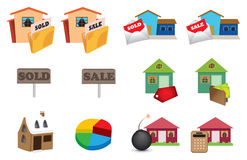 Real estate icons set. Stock Photos