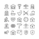 Real estate icons. Real estate icons set. Bedroom and garage, rent and sale Stock Photography