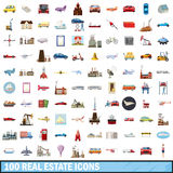 100 real estate icons set, cartoon style. 100 real estate icons set in cartoon style for any design vector illustration royalty free illustration