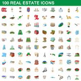 100 real estate icons set, cartoon style. 100 real estate icons set in cartoon style for any design illustration royalty free illustration