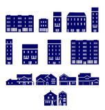 Real Estate Icons. Set of real estate icons, collection of 15 different buildings Royalty Free Stock Images