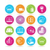 Real estate icons. Set of 16 real estate icons in colorful buttons vector illustration