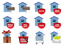 Real estate icons set in colors Royalty Free Stock Images