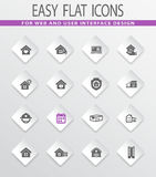 Real estate icons set. Real estate easy flat web icons for user interface design Stock Photography