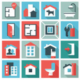 Real estate icons. Set of 16 Real estate icons. Flat design royalty free illustration