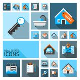 Real Estate Icons. Set with garage location search contract isolated vector illustration Stock Photography