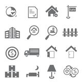 Real estate icons. Set of 16 hotel service icons, real estate icons stock illustration