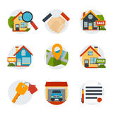 Real Estate Icons Set. With house and purchase symbols flat isolated vector illustration Royalty Free Stock Image