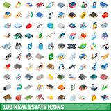 100 real estate icons set, isometric 3d style. 100 real estate icons set in isometric 3d style for any design illustration vector illustration