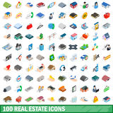 100 real estate icons set, isometric 3d style. 100 real estate icons set in isometric 3d style for any design vector illustration Stock Photography