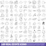 100 real estate icons set, outline style Stock Photo
